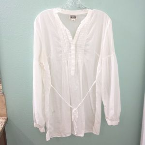 Converse One Star White Button Up Tunic Top